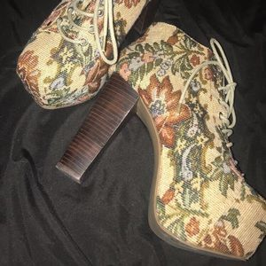 Chunky 5 Inch Floral lace up  Booties by Shi